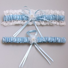 Amazing Satin With Pearl/Lace Wedding Garters