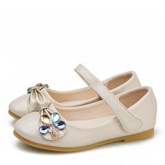 Muchacha Encaje Punta Cerrada Kunstleder Talón plano Planos Zapatos de niña de las flores con Velcro Crystal