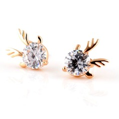 Unique Gold Plated Zircon Girls' Fashion Earrings