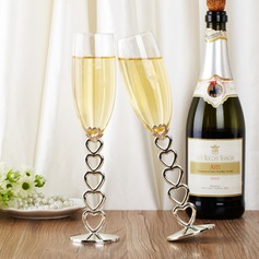 Personalized Heart design Glass/Aluminum Toasting Flutes
