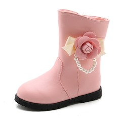 Girl's Round Toe Closed Toe Ankle Boots Leatherette Flat Heel Flats Boots Flower Girl Shoes With Flower Pearl Zipper