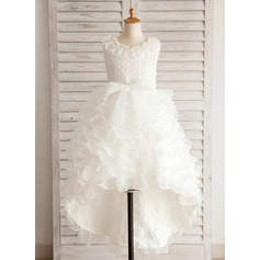 Ball Gown Asymmetrical Flower Girl Dress - Organza/Satin/Lace/Cotton Sleeveless Jewel With Beading/Bow(s)