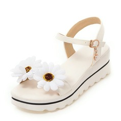 Women's PU Wedge Heel Sandals Wedges Peep Toe Slingbacks With Flower shoes