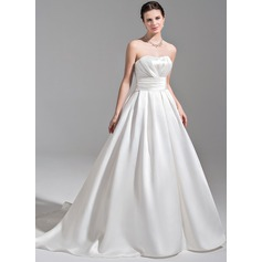 Ball-Gown Sweetheart Court Train Satin Wedding Dress With Ruffle