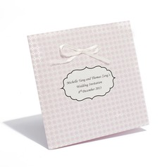 Personalized Classic Style Side Fold Invitation Cards With Bows