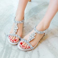Women's Leatherette Chunky Heel Sandals Peep Toe Slingbacks With Rhinestone Elastic Band shoes
