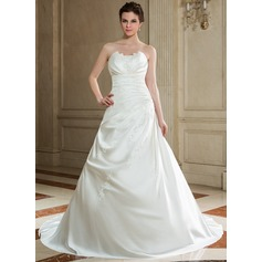 A-Line/Princess Scalloped Neck Chapel Train Satin Wedding Dress With Ruffle Beading Sequins