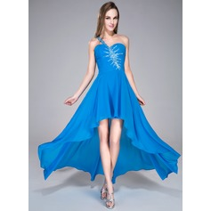 A-Line/Princess One-Shoulder Asymmetrical Chiffon Prom Dress With Ruffle Beading Sequins