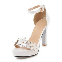 Women's Leatherette Chunky Heel Sandals Platform With Flower shoes