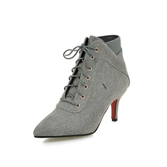 Women's Suede Cone Heel Ankle Boots With Braided Strap Split Joint shoes