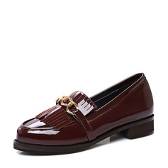 Women's Patent Leather Flat Heel Flats Closed Toe With Tassel shoes