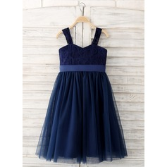 A-Line/Princess Knee-length Flower Girl Dress - Lace Sleeveless Straps With Bow(s)