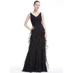 A-Line/Princess V-neck Floor-Length Chiffon Holiday Dress With Cascading Ruffles
