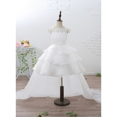A-Line/Princess Court Train/Detachable Flower Girl Dress - Organza/Satin Short Sleeves Off-the-Shoulder/Straps With Ruffles/Beading/Appliques/Rhinestone