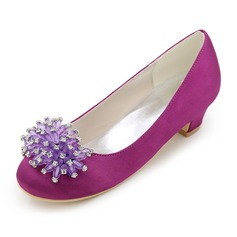 Closed Toe Low Heel Pumps Flower Girl Shoes With Rhinestone