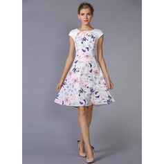 Polyester/Chiffon With Print Above Knee Dress (199087145)