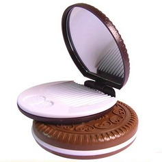 """""""Round Cookies"""" Plastic/Glass Compact Mirror"""