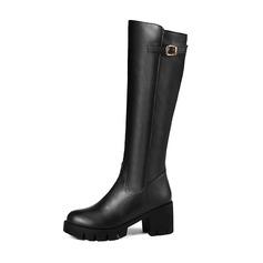 Femmes Similicuir Talon bottier Bottes Bottes hautes avec Boucle chaussures