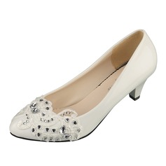 Women's Leatherette Low Heel Closed Toe Pumps With Rhinestone