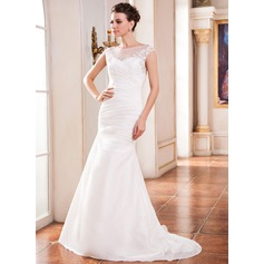Trumpet/Mermaid Scoop Neck Sweep Train Taffeta Wedding Dress With Ruffle Beading Appliques Lace Sequins