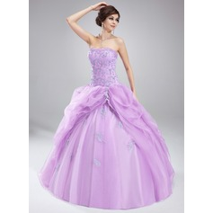 Ball-Gown Sweetheart Floor-Length Organza Quinceanera Dress With Ruffle Beading Appliques Lace