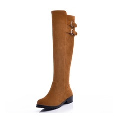 Women's Suede Low Heel Boots With Buckle shoes