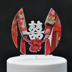 Bride And Groom/Classic Acrylic Cake Topper (Sold in a single piece)