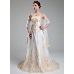 Empire Sweetheart Court Train Tulle Wedding Dress With Appliques Lace Crystal Brooch