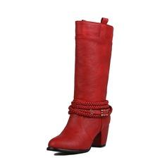 Donna PU Tacco spesso Stiletto Stivali Stivali altezza media con Spalline intrecciate scarpe