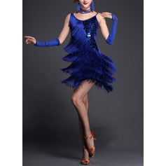 Women's Dancewear Polyester Latin Dance Dresses (115087948)