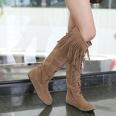 Women's Suede Flat Heel Flats Closed Toe Knee High Boots shoes