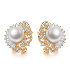 Pretty Copper/Zircon/Platinum Plated With Pearl Ladies' Earrings