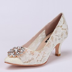 Women's Lace Stiletto Heel Closed Toe Beach Wedding Shoes With Rhinestone