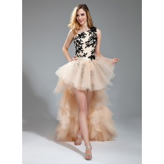 Sheath/Column One-Shoulder Asymmetrical Detachable Tulle Prom Dress With Embroidered Beading Appliques Lace Cascading Ruffles