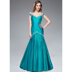 Trumpet/Mermaid Off-the-Shoulder Sweep Train Taffeta Evening Dress With Beading Sequins