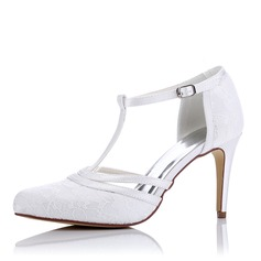 Women's Lace Silk Like Satin Stiletto Heel Pumps Sandals With Buckle