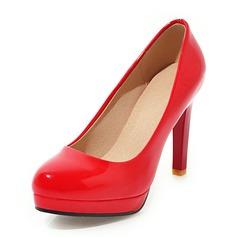 Mulheres Couro Couro Brilhante Salto agulha Bombas Plataforma sapatos