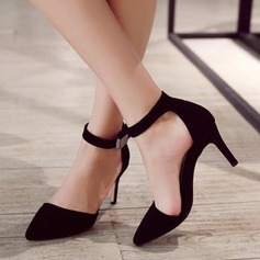 Women's Suede Stiletto Heel Pumps Closed Toe With Buckle shoes