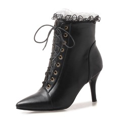 Women's Leatherette Stiletto Heel Pumps Boots Ankle Boots With Lace-up shoes
