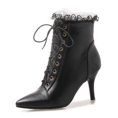 De mujer Cuero Tacón stilettos Salón Botas Botas al tobillo con Cordones zapatos