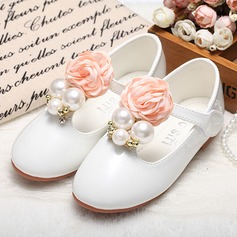Girl's Closed Toe Leatherette Flat Heel Flats Flower Girl Shoes With Imitation Pearl Satin Flower Velcro