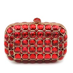 Fashional Satin/Acrylic Ruby Clutches/Fashion Handbags/Luxury Clutches
