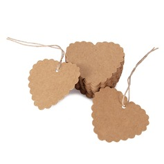 100pcs 6.5*6cm Lace Heart Kraft Paper Tags / DIY Wishing Bottle Card Gift Box Tags