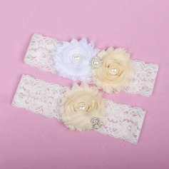 Fabulous Lace/Chiffon With Rhinestone/Imitation Pearls Wedding Garters