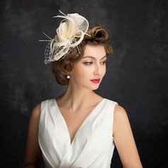 Ladies' Classic Feather/Net Yarn/Tulle/Linen With Feather Fascinators
