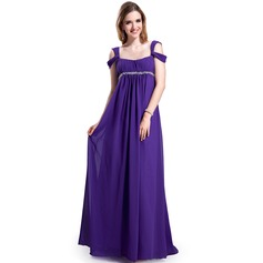 Empire Off-the-Shoulder Sweep Train Chiffon Evening Dress With Ruffle Beading