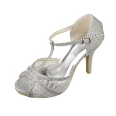 Women's Lace Sparkling Glitter Stiletto Heel Peep Toe Platform Sandals With Buckle