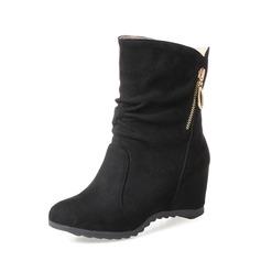 Donna Camoscio Zeppe Zeppe Stivali alla caviglia con Cerniera scarpe