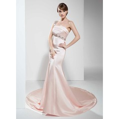 Trumpet/Mermaid One-Shoulder Chapel Train Satin Evening Dress With Beading