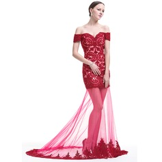 Trumpet/Mermaid Off-the-Shoulder Sweep Train Tulle Lace Prom Dress With Beading Sequins